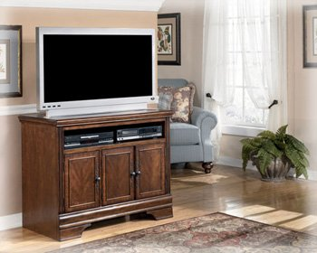 Cherry Entertainment Credenza (Ashley Furniture Signature Design - Hamlyn TV Stand - 42 in - Modern Styling - Dark Brown)