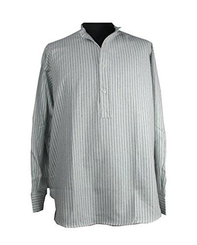 Irisches Grandfather Hemd aus Baumwollflannel. Weiß mit grünen Streifen.