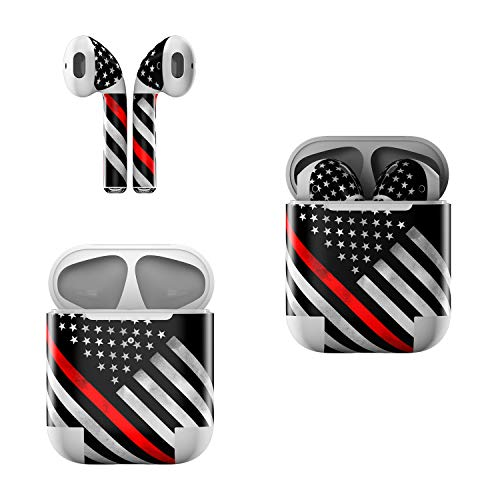 Skin Decals for Apple AirPods - Thin Red Line Hero - Sticker Wrap Fits 1st and 2nd Generation