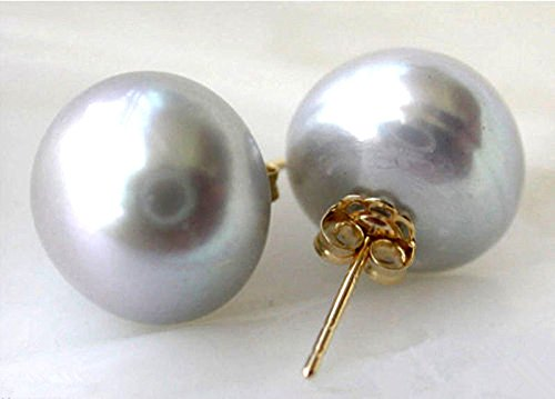 Huge 11-12mm Natural Gray Akoya Freshwater Pearl 14k Gold Plated Stud -