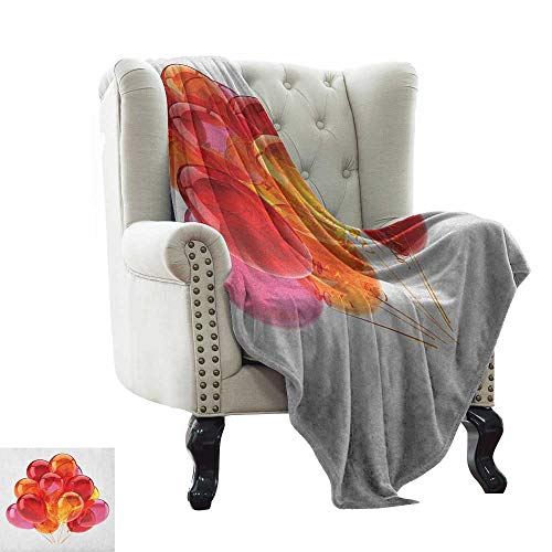 """LsWOW Baby Blanket Yarn Orange and Pink,Festive Warm Colored Balloons with Swirls Celebration Themed Composition, Multicolor Super Soft Faux Fur Plush Decorative Blanket 50""""x70"""""""