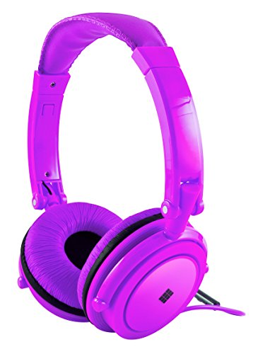 Polaroid Neon Headphones With Carring Case, Built-in Mic, Compatible With All Devices,Purple