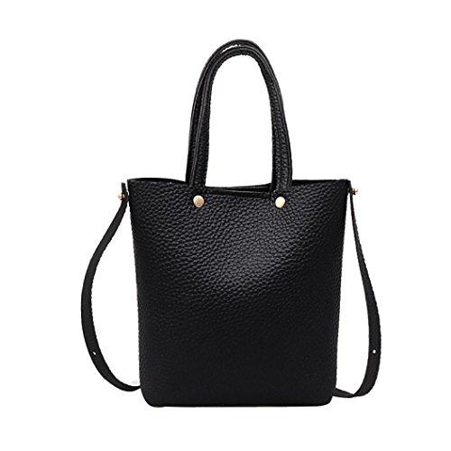 Alixyz Womens Handbags and Purses Shoulder Bag Satchel Messenger Tote Bag (M, Black)
