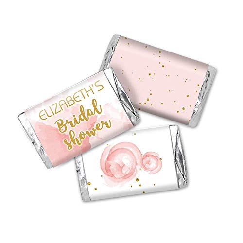 Roses and Gold Personalized Bridal Shower Favor Stickers, Miniatures Candy Bar Wrapper Labels, 54 - Shower Candy Bridal Wrapper