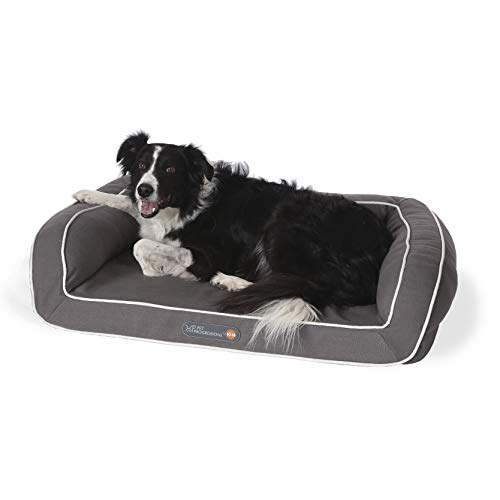 Pet Progressions by K&H Gel Infused Memory Foam Couch Pet Bed Medium Grey - Soothing Comfort & Support for Adult or Senior Dogs & Cats