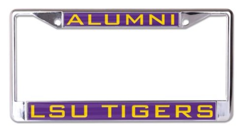 WinCraft NCAA Louisiana State University LSU Tigers 6x12 Alumni Inlaid Acrylic/Metal License Plate Frame (Lsu Acrylic)