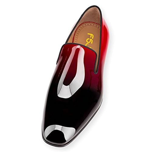 gradient FSJ Dress Flats 7 Slip Patent Shiny Men's Shoes 14 Leather On Formal Size Black Loafers US Oxford RqrT1R