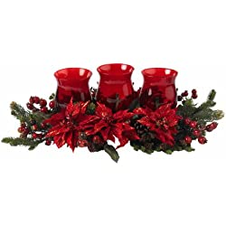 Nearly Natural 4914 Poinsettia and Berry Triple Candleabrum, Red