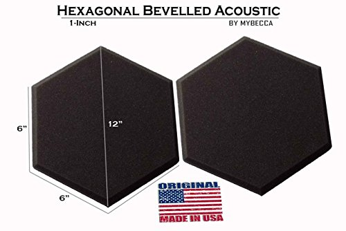 Mybecca [48 PACK] Acoustic HEXAGONAL Bevelled Tiles Soundproofing Wall Panels 1 inch by 12 inches, Made in USA by Mybecca