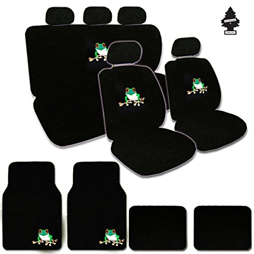 Yupbizauto Frog Design Front Low Back Universal Size Bucket Seat Covers, 5 Head Rest Covers,Frog Logo Rear Seat Cover,Steering Wheel Cover, Shoulder Pads, 4 Carpet Floor Mats and an Air Freshener ()