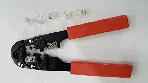 (Telephone Cord Repair Kit (Modular Crimp Tool + 5 Connectors))