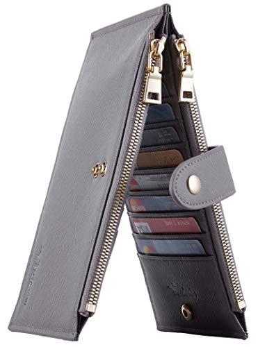 - Travelambo Womens Walllet RFID Blocking Bifold Multi Card Case Wallet with Zipper Pocket (CH Grey 4074)