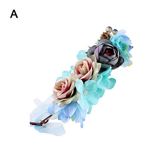 (prettDliJUN Kids Party Beach Artificial Flowers Headband Hair Band Garland Wreath Decor Headwear A)