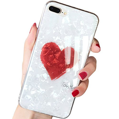 iPhone 8 Case,iPhone 7 Case,SQMCase Seashell Pattern Hard PC Back with Lovely Heart Shape + Clear Soft TPU Protective Case for Apple iPhone 8/7(White) ()