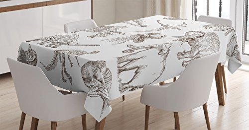 (Ambesonne Jurassic Tablecloth, Arrangement of Various Dinosaurs Illustrations Skeleton Biology Historic, Dining Room Kitchen Rectangular Table Cover, 60 W X 90 L Inches, Dark)