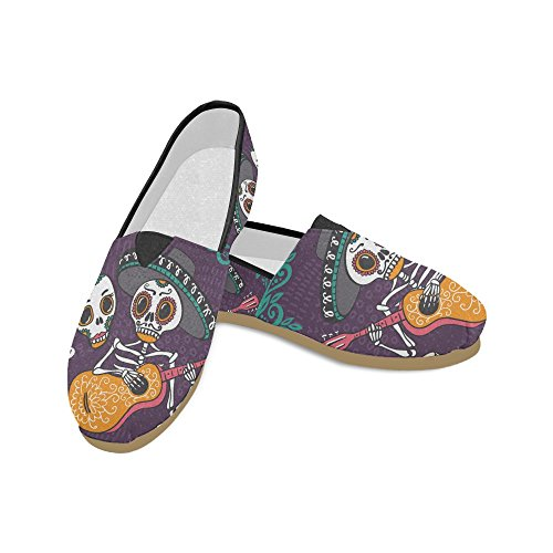 (D-Story Fashion Sneakers Flats Day of The Dead Women's Classic Slip-on Canvas Shoes)