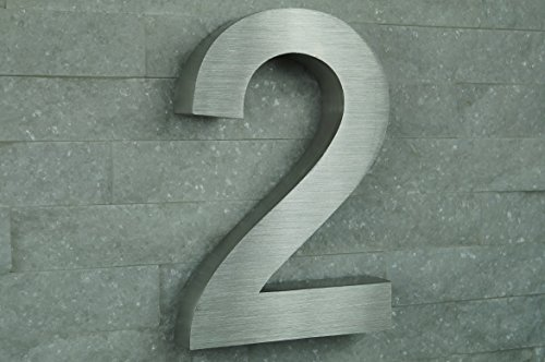 HAUSNUMMER EDELSTAHL Nr.2 / H20cm / Arial in 3D-Design / V2A !!!
