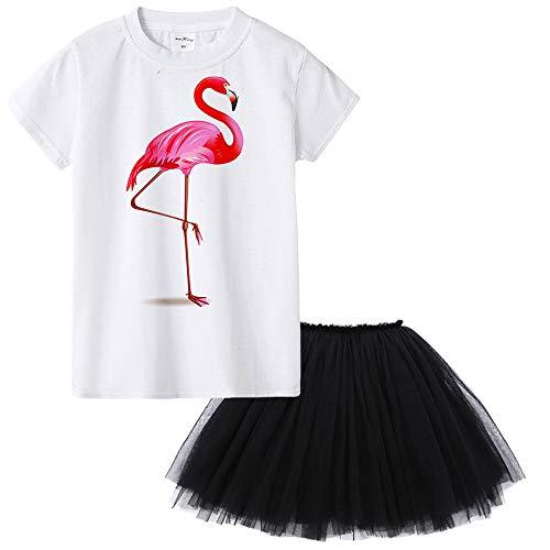(Big Girl Outfit 2pc Set White Flamingo Cotton Shirt Black Tutu Skirt Costume Birthday Party Tulle)