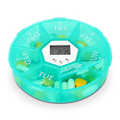 (Hyber&Cara 7-Day Portable Pill Organizer Dispenser with 4 Alarm Reminders Per Day, Large Capacity Box for Supplements with Digital Timer (Green))