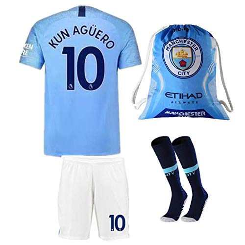 #10 KUN Aguero Manchester City 18/19 Home Kids/Youth Soccer Jersey & Shorts & Socks and Drawstring Sports Ball Bag Blue (5-6Y/Size 20)