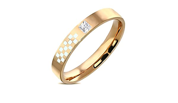 Stainless Steel Gold Color Plated 2 Color Checker// Grid Comfort Fit Flat Band Ring