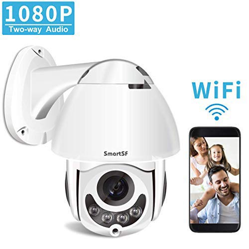 PTZ Camera Outdoor,1080P Full HD 360° Wireless Home Security Camera,2 Way Audio,Night Vision, Motion Detection, Support iOS/Android/Windows/Mac, SD Card Slot