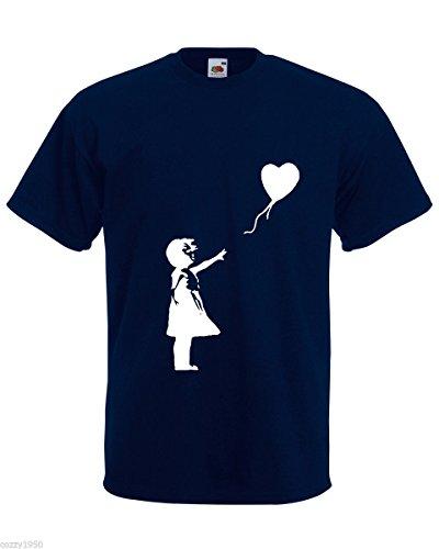 Banksy Marine Hommes Décalque shirt Bleu Fille Avec Hasard Gratuit Au Ballon Cadeau Seul Coeur Sur Romantique T Amour fqtwTf
