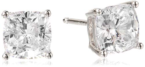 Platinum Plated Sterling Silver Cushion Cut Cubic Zirconia Stud Earrings (7mm)