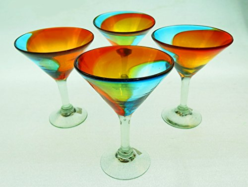 Mexican Glass Martini, Hand Blown, Rainbow colors 10 Oz (Set of 4) -