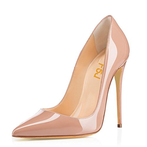 FSJ Women Fashion Pointed Toe Pumps High Heel Stilettos Sexy Slip On Dress Shoes Size 10 Nude (Womens Pumps Sexy)