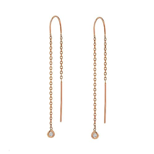 Tousi Diamond Dangle Earrings -14 k Rose Gold- Nice Drop Earring Gift Jewelry for Women and Girls Every Day 14k Vs1 Earrings