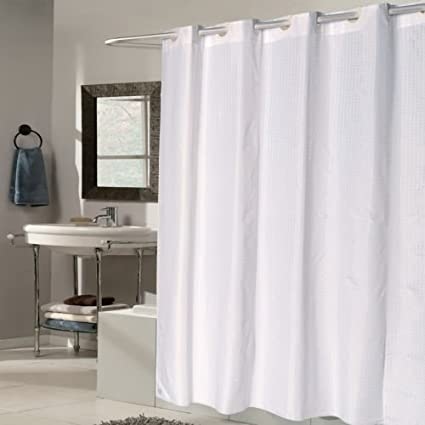 TAKESHOWER EZ On White Check Fabric 70quotx75quot Hookless Shower Curtain Liner