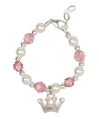 Crystal Dream Luxury White Simulated Pearls Pink Pave Beads and Crystals with Sterling Silver Princess Crown Charm Infant Girl Bracelet (B139_M)
