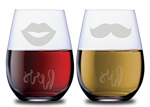 His and Hers Stemless Couples Wine Glasses Set of 2 with Mustache and Lips Funny Dishwasher Safe, 18 oz, by Smoochies | Couples, Anniversary, Home Date Night, Wife and Husband, Wedding, Gift Idea