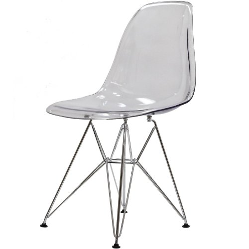 Modway Plastic Side Chair in Clear with Wire Base by Modway (Image #4)