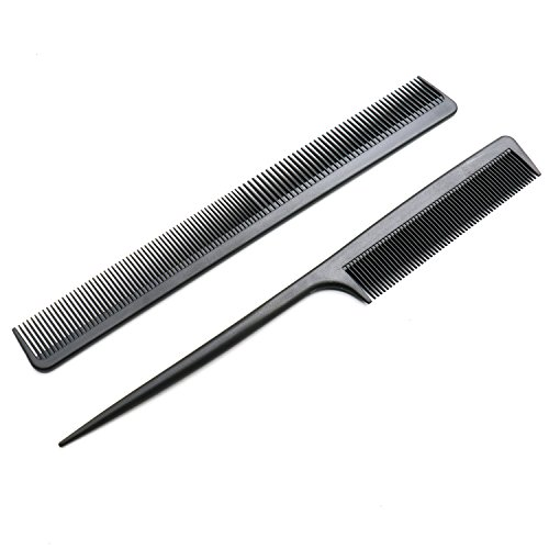 2 Pack Carbon Fiber Anti Static Chemical And Heat Resistant Tail Comb For All Hair Types ()