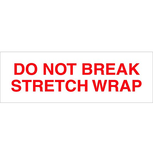 Tape Logic TLT902P086PK Pre-Printed Carton Sealing Tape,Do Not Break Stretch Wrap, 2.2 Mil, 2'' x 110 yds, Red/White, 6/Case by Tape Logic