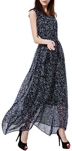 Wantdo Women's Floral Print Maxi Dress Scoop Neck Dress Summer Deep Blue M