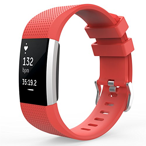 (MoKo Fitbit Charge 2 Band, Soft Silicone Adjustable Replacement Sport Strap Band for Fitbit Charge 2 Heart Rate + Fitness Wristband, Wrist Length 5.70