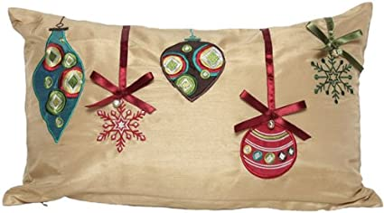 Manor Luxe Christmas Ribbon With Ornaments Embroidered Christmas Decorative Pillow Feather Down Filled 14 By 20 Inch