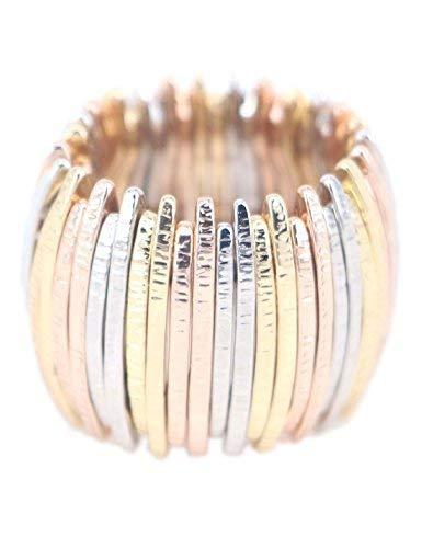 (Graceful Joy Elastic Stretch Rings Resizable Statement Ring Multi-Color Bar Shape Strand Finger Rings)