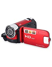 Digitale Camcorder, Full HD 270 ° Rotatie 1080P 16X High Definition Video DV Camera Professionele Opname Videocamera voor Home Party Outdoor Picknick Camping(Rood)