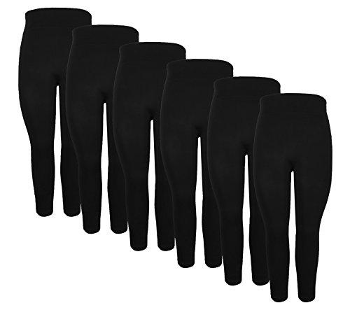 Crush Womens Seamless Full Length Legging Pants 6 Pack Black Large X Large