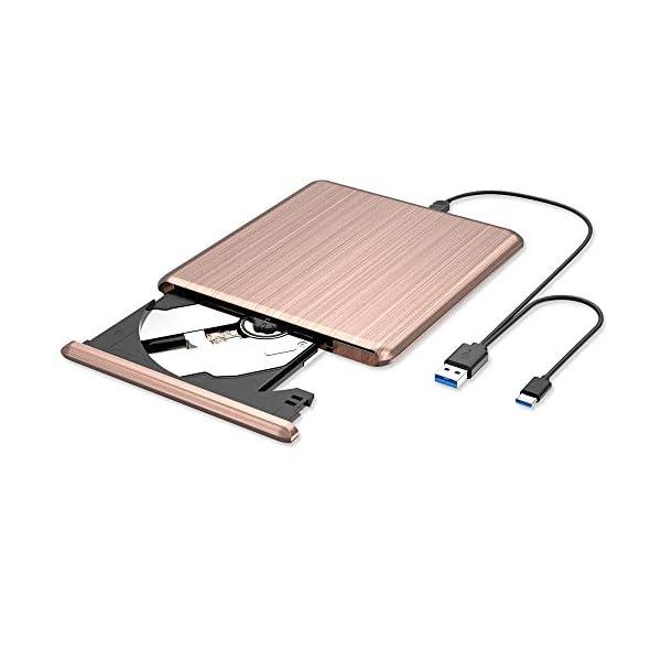 VersionTECH. External CD DVD Drive, USB 3.0 Type C Portable Ultra Thin Burner Player...