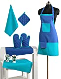2 Color Cotton Chef's Apron Set with Pot Holder, Oven Mitts & Napkins - Perfect Home Kitchen Gift or Bridal Shower Gift