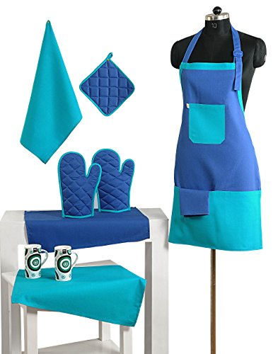 2 Color Cotton Chef's Apron Set with Pot Holder, Oven Mitts & Napkins – Perfect Home Kitchen Gift or Bridal Shower Gift