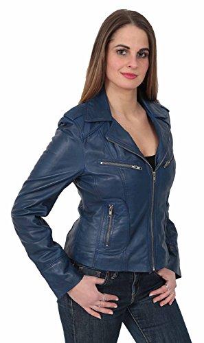 Bleu Forme Designer Dernières Femmes Zip Motard En Veste De Filles Style Betty Cuir Marine SfqSw05t