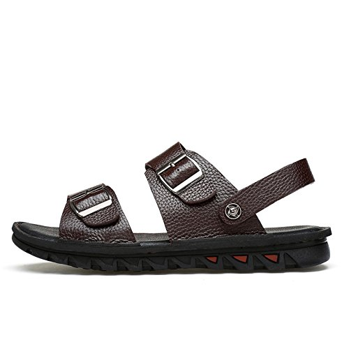 2018 Size vacchetta EU Pantofole da uomo da antiscivolo Scarpe di in scarpe Brown schienale regolabili 45 uomo pelle Casual vera sandali spiaggia Black Color senza rxnrwp