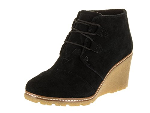 TOMS Women's Desert Wedge Crepe Black Suede Shoes 7