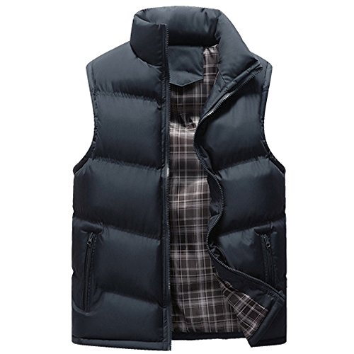Outwear XFentech Winter Blue Jacket Windproof Down Sleeveless Waterproof Stand Deep Puffer Collar Zipper Coat Men's Down Vest r6qgRrw